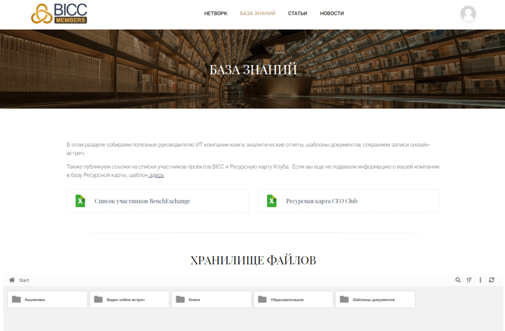 Закрытый сайт для членов Клуба
